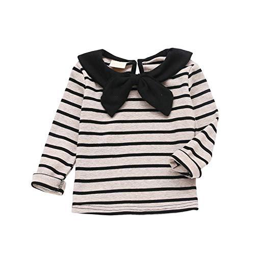 - Newborn Baby Kids Girl Long Sleeve Striped T-Shirt Tops Spring Children Girls Bowknot Cotton Tee Shirt 1-5T Newest H 24M