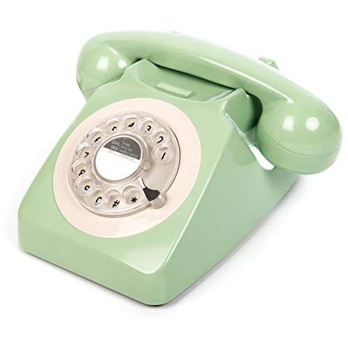 chollos oferta descuentos barato GPO 746 Teléfono Fijo de Disco con Estilo Retro de los años 70 Cable en Espiral Timbre auténtico Verde Me