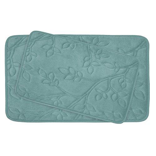 2 Piece Marine - Bounce Comfort 2 Piece Spring Leaves Premium Micro Plush Memory Foam Bath Mat Set, 20 by 30