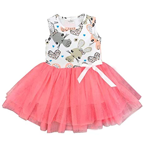 e34f67dbe2cc Toddler Baby Girls Easter Holiday Easter Bunny Vest Top Pink Tulle Skirt  Dress Sleeveless Casual One