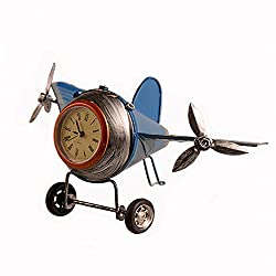 Airplane Table Clock CR Retro Vintage Plane Airplane Model Clock with Lindbergh Aviation Aircraft Clocks Home Decoration Toy gift for children kids (B-Blue)