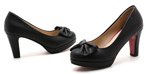 Aisun Kvinna Trendig Dressat Lågt Skuren Halka På Rund Tå Chunky Höga Klackar Plattformen Pumpar Skor Med Rosetter Svart