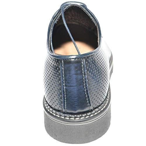 Traforato Blu Sportivo Vera Pelle Gomma Antiscivolo Fondo Scarpe in Made Italy Abrasivato Classico Uomo zRvxTn