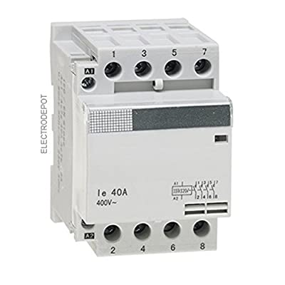 4 Pole Contactor 40 Amp, 120V Coil AC Open (N/O) Din mount IEC, Lighting Swiching