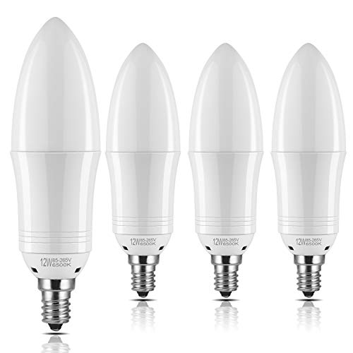 Yiizon E12 LED Candle Light Bulbs 12W 1200LM 100W Incandescent Bulbs Equivalent 6500K Daylight White Candelabra Bulb Non-Dimmable Small Edison Screw Candle Bulbs(Pack of 4) 100 Watt Medium Based Bulb