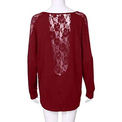 Haut Grande d'pissure AIMEE7 T Tops Manches Longues Nu Dentelle Taill Rouge Dos Shirt Femme aWav6wZq