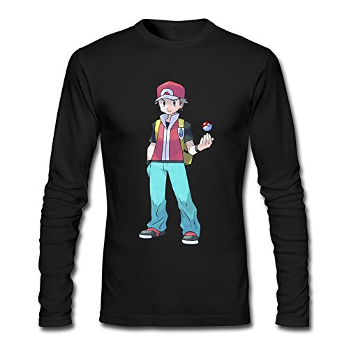 ZHENGXING Men's Pokemon FireRed and LeafGreen Pokemon Trainer Long Sleeve T-shirt S ColorName (Pokemon At Academy)