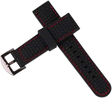 ca2ff8a9a20 22Mm Silicone Perforated Pin Buckle Rubber Strap Diving Waterproof Sport  Soft Watch Band(Red Stitching