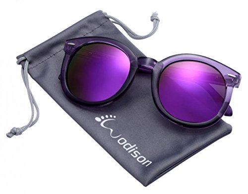 WODISON Womens UV400 Protected Classic Mirrored Lens Clear Frame Sunglasses Purple - Dizzy Make Can Sunglasses You