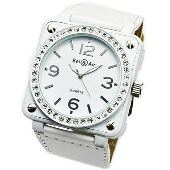 f3b248911f Amazon   腕時計 メンズ レディース おしゃれ 革ベルト スクエア ビッグフェイス ミリタリー 腕時計 ホワイト   メンズ腕時計   腕時計  通販