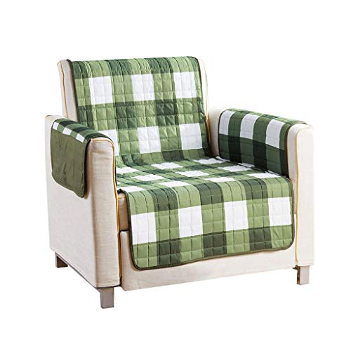 Gingham Fabric Recliner - Quick Fit - The Original Plaid Gingham Checkered Reversible Water Resistant Furniture Cover for Dogs, Kids, Pets Sofa Slipcover for Couch, Recliner, Loveseat or Chair (Chair: Sage Green)