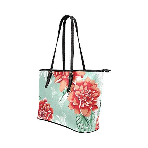 WDDHOME handväska väska vacker vår retro röd pionros läder hand död väska vardagliga handväskor med dragkedja axel organiserare för kvinnor flickor kvinnor crossbody axelväskor