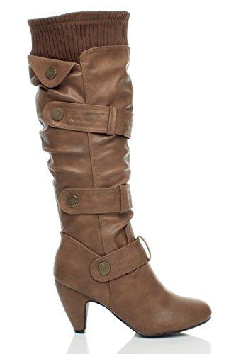heel calf Matt ladies zip Womens Ajvani toe buckle knee round knitted mid size cuff boots Tan zZIRpRwq