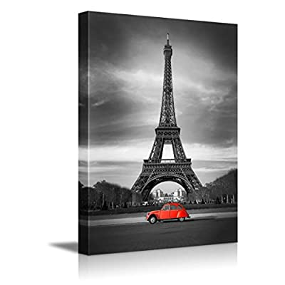 Premium Creation, Delightful Composition, Eiffel Tower in Black and White and Old Red Car Retro Vintage Style Wall Decor