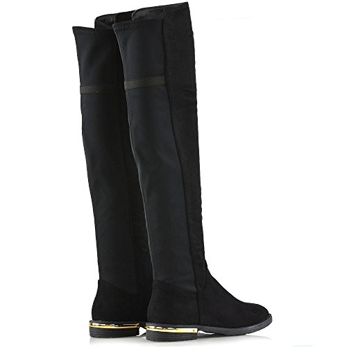 Low Womens Gold Trim Leg Stretch Over The Flat GLAM Knee Boots Casual New Suede Heel Calf Faux Black ESSEX EqgO0wAq