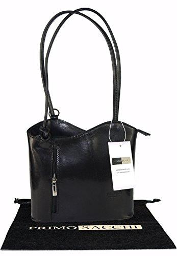 Italian Leather Hand Made Black Handbag, Shoulder Bag or Back Pack. Medium Version. Includes a Branded Protective Storage - Rings Wedding Tuscan