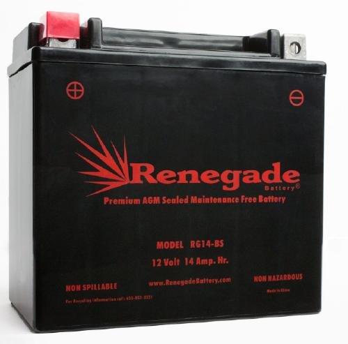 Motorcycle Battery: RG14-BS (97-03) GL1500C/CD/CF/CT Valkyrie / (03-09) VTX1300C/R/S/T / (96-03) ST1100 (ABS) / (01-07) VT1100C Shadow Spirit, Sabre, Aero, ACE / (98-03) VT750C/CD Shadow ACE]()