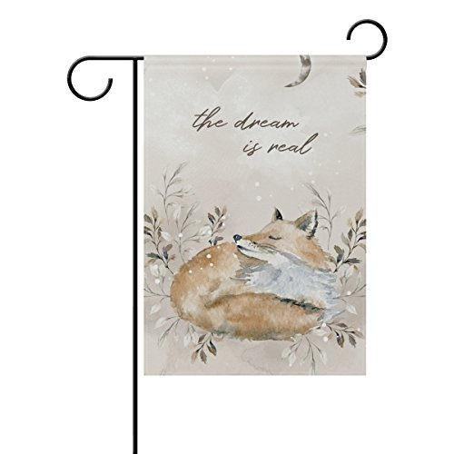 - YZGO Watercolor Beautiful Dreamy Fox Garden Flag Home Polyester Fabric Mildew Resistant Welcome House Yard Banner,28x40 Inch