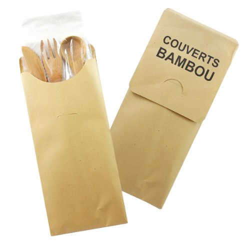 PacknWood Paper Wrapped Bamboo Cutlery Kit with Knife, Fork, Spoon, and Napkin, 7.4'' Long (Case of 250) by PacknWood