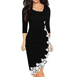 Itlotl Dress For Women Summer Pencil Slim Dress Elastic Irregular Hem Skinny Lace Dress Xx Large Black
