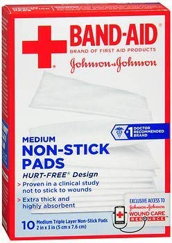 Band-Aid Non-Stick Pads Medium 2 inch x 3 inch - 10 ct, Pack of 5 ()