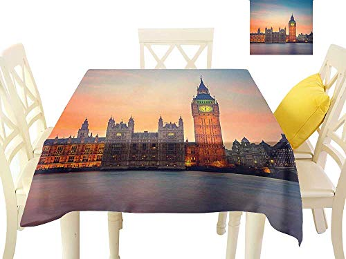 Angoueleven London,Table Cloth Fairy View of Big Ben and Houses of Parliament at Dusk in London British Urban Town,Dining Kitchen Table Cover W 70