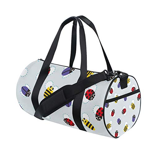 (Sports Gym Duffel Barrel Bag Bumblebee Ladybug Insect Travel Luggage Handbag for Men Women)