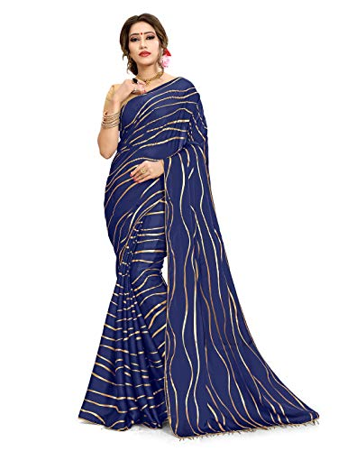 Sarees for Women Satin Georgette Woven Saree l Indian Ethnic Wedding Gift Sari with Unstitched Blouse Navy Blue