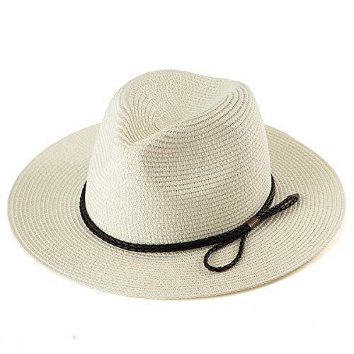 - LADYBRO Straw Fedora Hat Men Cap - Milk White Straw Hat Summer Travel Hat for Women Hats