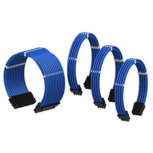 LINKUP PSU Cable Extension Sleeved Custom Mod GPU PC Power Supply Braided w/Comb Kit  1x 24 P (20+4)   1x 8 P (4+4) CPU   2X 8 P (6+2) GPU Set   30CM 300MM - Blue