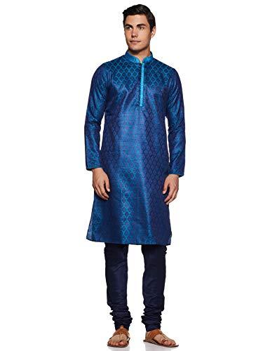 Manyavar Men's Regular Fit Banded Collar Designer Kurta & Churidar Set (Blue, Medium)
