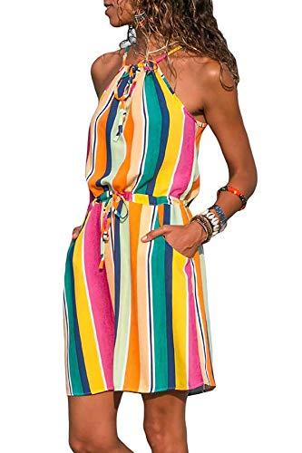 afc1780a86f Asskdan De Sans Manches Cocktail Femmes Multicolore Sling D ete Boho  Mousseline Robe Mini F6wFrfq