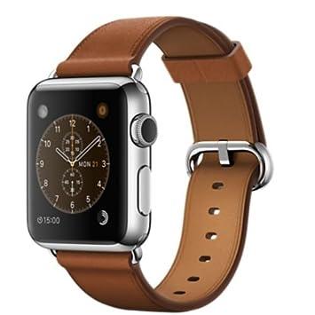 Apple Watch Montre connectée - Boîtier en acier inoxydable 38mm - Bracelet Boucle Classique havane (