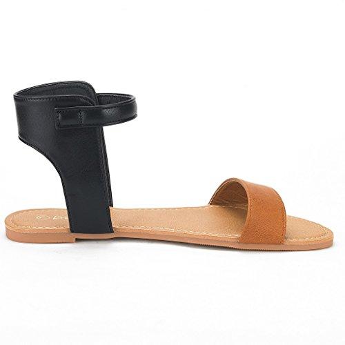 Alexa Black Flat Alexa Strap Womens PAIRS tan Buckle Ankle DREAM Sandals wHx6WUqOna