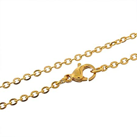 Fashion Jewelry 1PC Stainless Steel Necklaces Flat Curb Link Cross Chain Gold Color 49.8cm-50.7cm Long M4365 Star-Trade-Inc