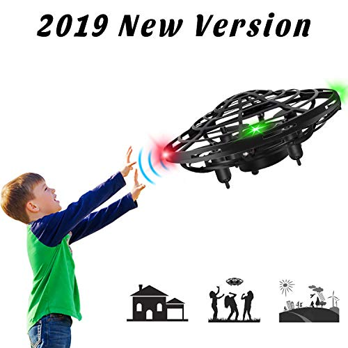 XBUTY Flying Ball Toys for Kids, 360° Rotating Quadcopter with LED Lights, Hand Operated Mini Drone Helicopter for Boys and Girls (Black)
