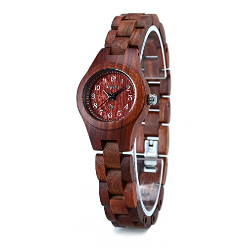 Bewell Wood Watch Lightweight with Arabic Numeral Scale Wrist Watch for Women W123A