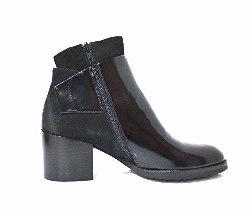 Scarpe donna tronchetto nero in vernice e nabuk con tacco medio e grosso Bruno Premi 3602X