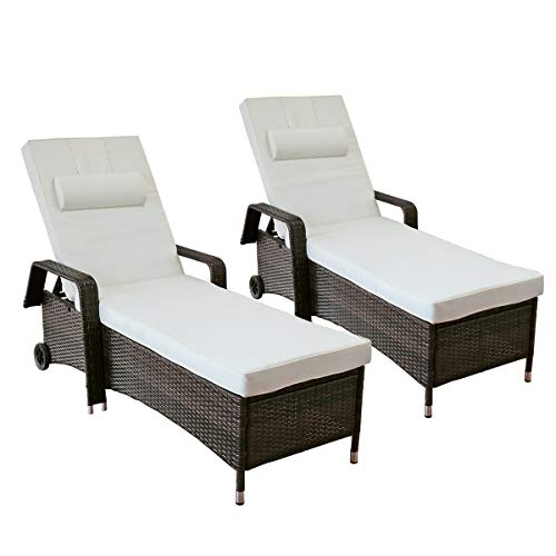 Yardeen 2-Pack Patio Lounge Chaises Reclining Chair Outdoor Poolside Rolling Armchair Reclining Adjustable Wicker Sunbed Chair with Cushion Beig