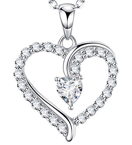 You are The Only One Love Heart Pendant Gifts for Wife for Women Diamond Necklace Jewelry Birthday for Her Daughter Girlfriend Sterling Silver Swarovski 18