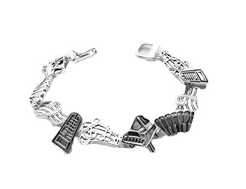 Icon Collection Silver - Plated Piano Music Bracelet -