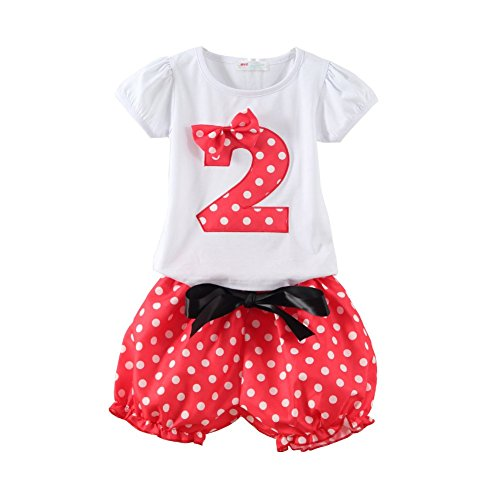 (Mud Kingdom Polka Dot Toddler Girl's Birthday Clothing Set I am 2 Red Shorts, Red Shorts Set