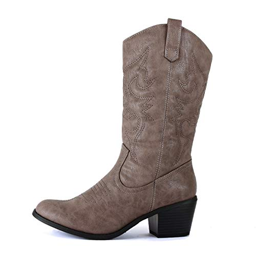 West Blvd Miami Cowboy Western Boots, Grey Pu, -