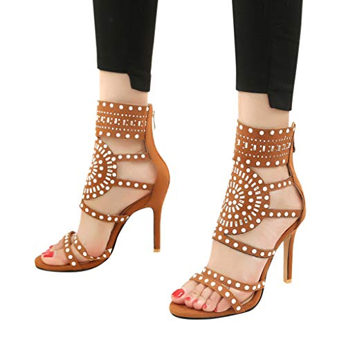 Orangeskycn Women High Heel Sandals Plus Size Fashion Rivet Back Zipper High Heel Open Toe Ankle Beach Shoes Sandals Brown by Orangeskycn Women Sandals (Image #2)