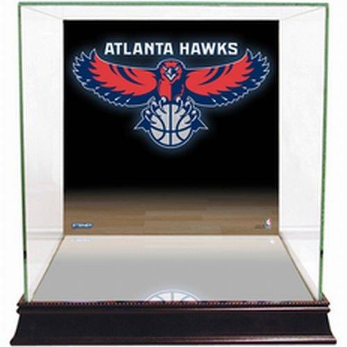NBA Atlanta Hawks Glass Basketball Display Case with Team Logo Background