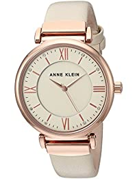 Women's AK/2666RGIV Swarovski Crystal Accented Rose Gold-Tone and Ivory Leather Strap Watch