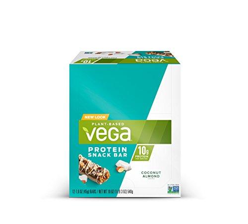 Vega Protein Snack Bar Coconut Almond (12 Count) – Plant Based Vegan Protein Bars, Non Dairy, Gluten Free, Non GMO
