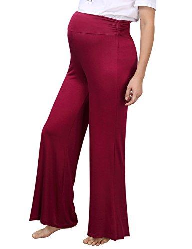 Nom Maternity Clothes - MissQee Maternity Dress Women's Solid High Elastic Waist Pleated Maternity Wide Leg Pants Burgundy L