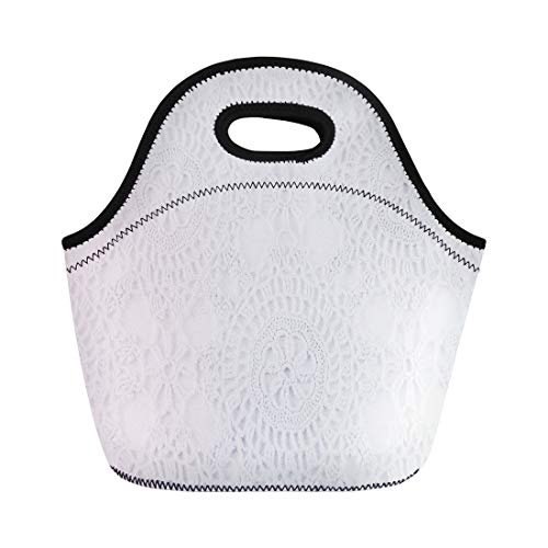 Semtomn Neoprene Lunch Tote Bag Lace Crochet Pattern Sewn Abstract Antique Black Border Bridal Reusable Cooler Bags Insulated Thermal Picnic Handbag for Travel,School,Outdoors,Work