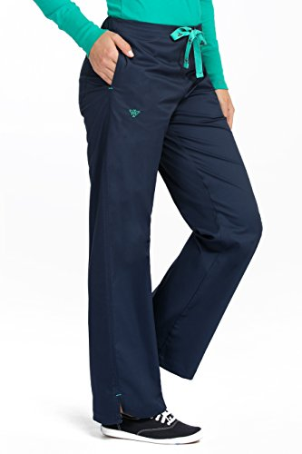 Med Couture Women's Drawstring Scrub Pant Large New Navy/Spearmint